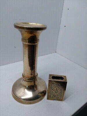 Antique/Vintage Brass Column Candlestick and Brass Matchbox Holder
