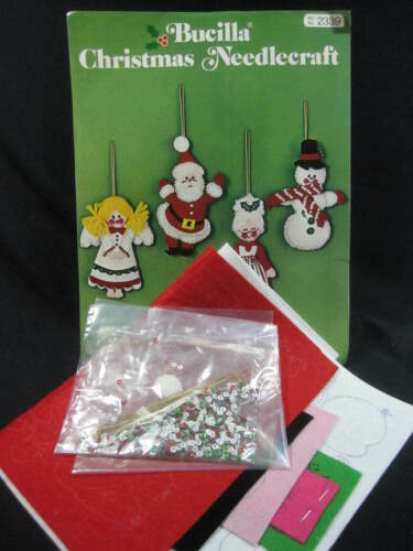 Christmas Foursome - Jeweled Holiday Ornaments Felt Craft Kit - Bucilla
