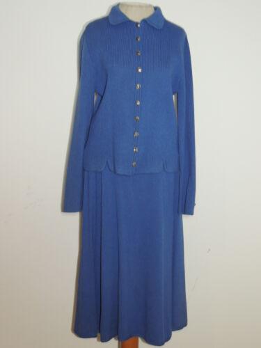St John Vintage 2 Pc Blue Knit Skirt Suit   MED