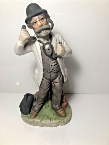 Porcelain Bisque Figurine Old man doctor on phone Made In Italy