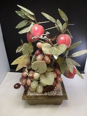 Jade Pot - Antique Chinese Lucky Jade Apple Peach Bonsai Tree in Green Pot GRAPES