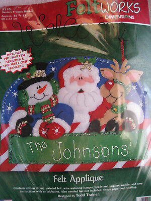 Christmas Dimensions Felt Applique Kit,SANTA'S FRIENDS BANNER,8135,Personalize