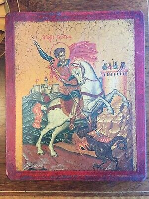 Old Wooden Greek Icon Of St George.