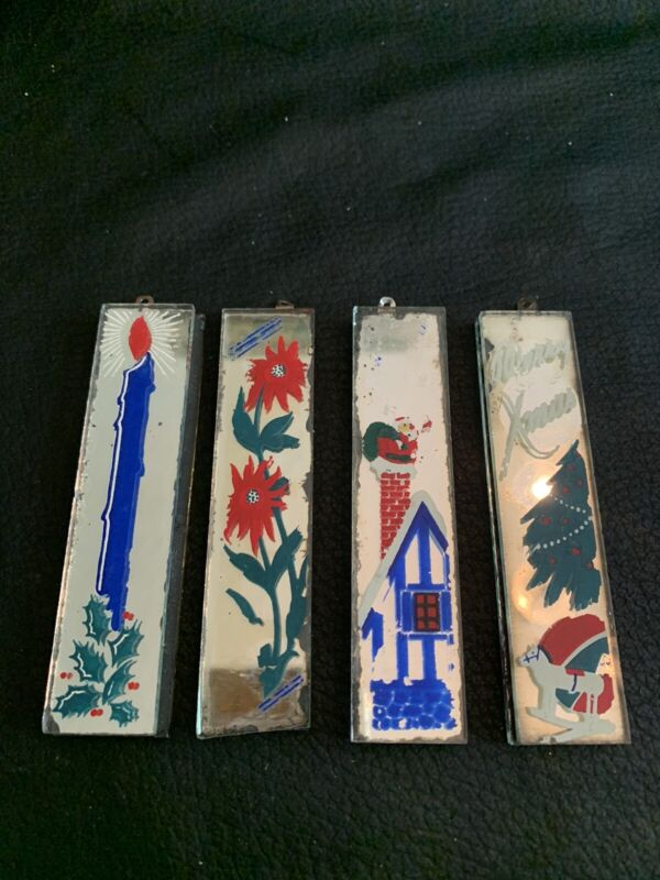 RARE Lot 4 Hand Painted MIRRORETTES Mirror CHRISTMAS Glass ORNAMENTS Vtg 1940's