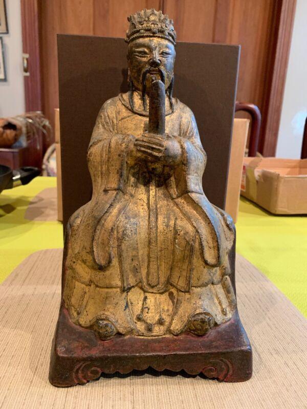 "Antique Metal Confucius Buddha Statue 12"" Tall"