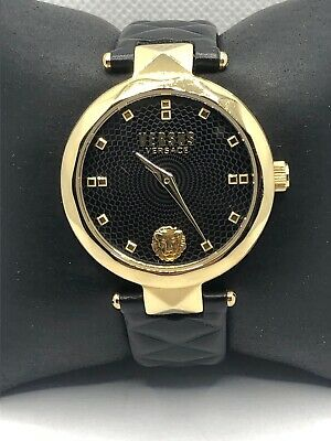 Versus Versace VSPCD0818 Women Black Leather Analog Black Dial Wrist Watch OP252
