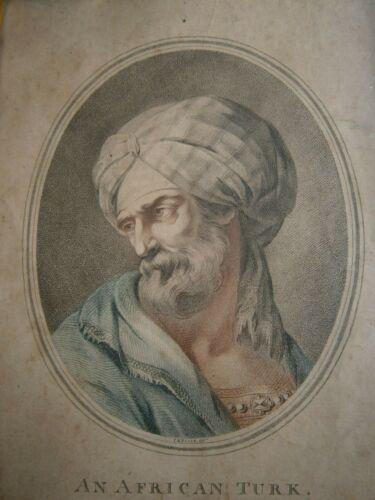 """Engraving Portrait Antique """" African Turk """" V.M Picot 1775 Deco Orientalist"""
