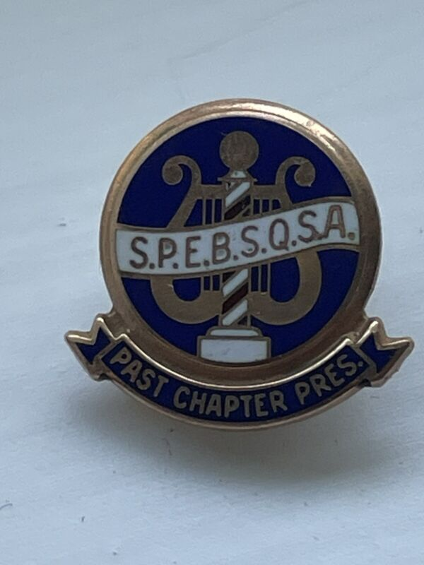 10k Gold SPEBSQSA Barber Shop Quartet Past Chapter President  Enamel  Lapel Pin
