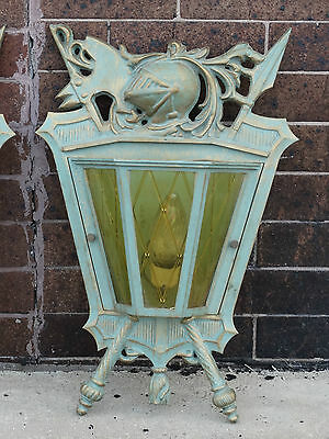 Knight & Armor coat of arms Masonic Temple Light fixture wall sconce Bronze lamp