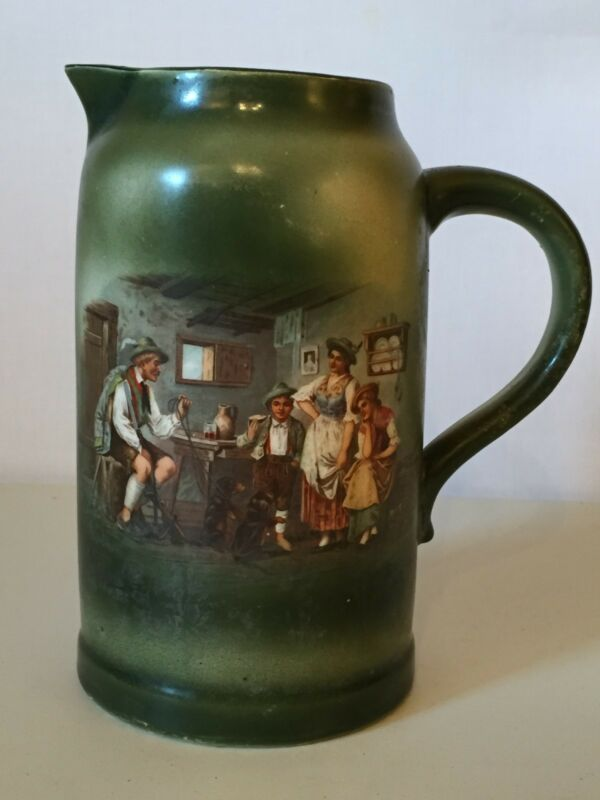 Antique Columbia Art Pottery Morris Willmore of Trenton NJ Green Tankard Pitcher