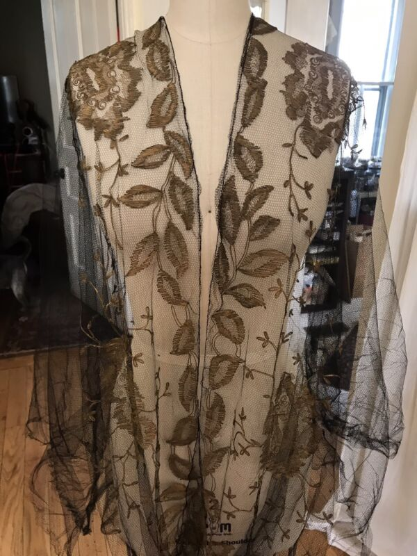Antique French Silk BLK Net Lace Victorian Yardage Floral Metalwork Embroidery