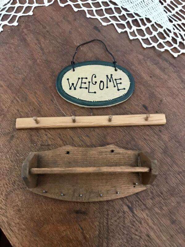 Lot Vintage Wood Dollhouse Accessories 1:12 Scale Miniature 2 Peg Racks & Sign!