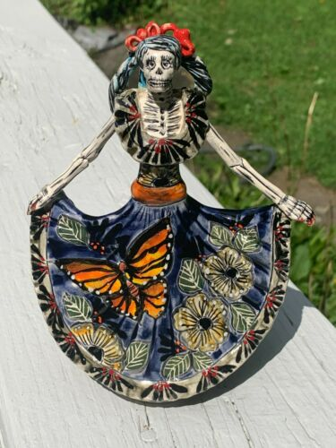 La Bailarina Catrina Dancer Talavera Painted Statue Mexican 6.5x5x2 Blue J44