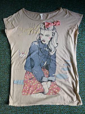 Damen-Tshirt-3 Stück ausgefallen u. hübsch Gr. S - M - beige-rot-blau