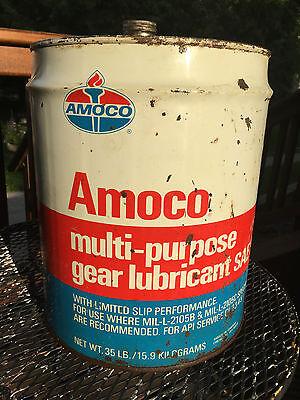 VINTAGE AMOCO CAN MULTI-PURPOSE GEAR LUBRICANT 35 LB SIZE AMOCO OIL CO CHICAGO