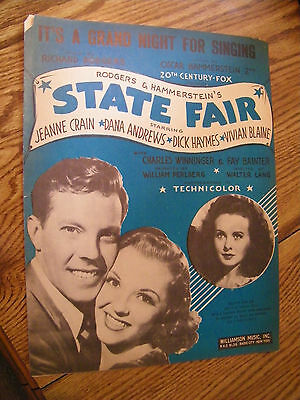 SHEET MUSIC IT'S A GRAND NIGHT FOR SINGING ROGERS & HAMMERSTEINS STATE FAIR