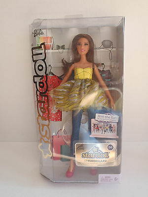 Barbie Stardoll Brunette Yellow Dress Top   Jeans W Pink Shoes 2011 Doll