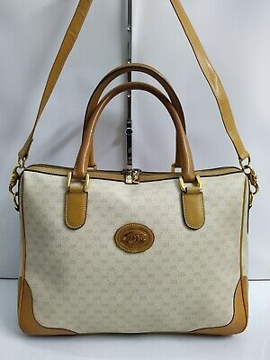 Vintage Gucci Cream & Tan Boston Satchel Doctor Bag Shoulder Bag - Made in Italy