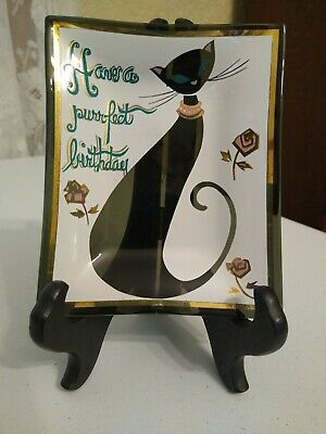 Houze Glass Vintage Black Cat Have a Purrfect Birthday Trinket Tray