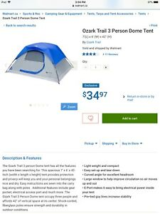 Three person dome tent