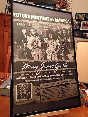 "BIG 11X17 FRAMED ""MARY JANE GIRLS"" LP CD PROMO AD w/ RICK JAMES 1983 TOUR DATES!"