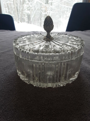 Vintage Indiana Glass Clear Covered Candy Dish Round