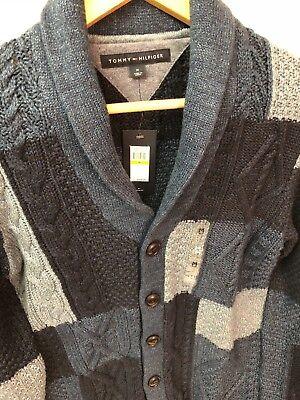 Tommy Hilfiger Mens Cardigan 100% Cotton Sweater Jacket Medium Retail $ 179.00