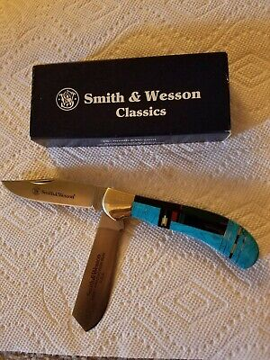 Smith & Wesson USA First Production Run turquoise knife SW712 333 Saddle Trapper