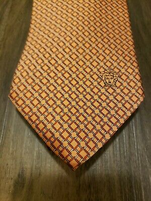 Versace Silk Tie Orange New without Tags