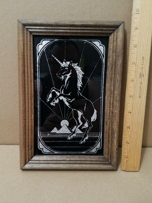 Vintage Unicorn Carnival Fair Boardwalk Prize Black Painted Glass Mirror 1980