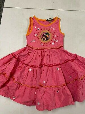 OILILY BOUTIQUE GORGEOUS PINK SLEEVELESS PARROT SWING DRESS GIRLS 104 4 5
