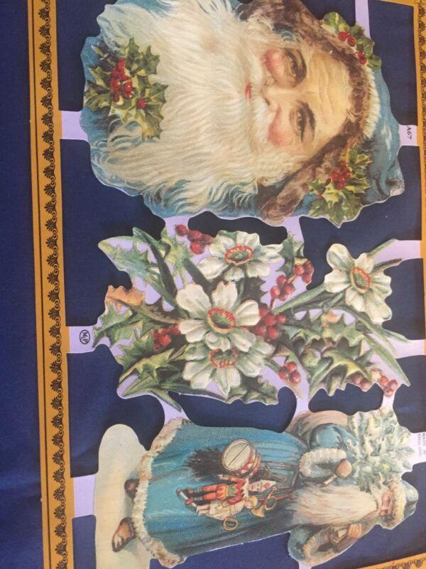 """Vintage Die Cut 4 SWISS Scrap Paper Glanzbilder Oblaten-Gnomes Elves Elf 8/"""" Tall"""