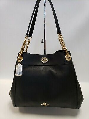New Coach 36855 LIBLK Turnlock Edie Pebbled Leather Chain Shoulder Bag Black