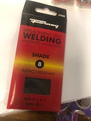 2 Packages Forney Replacement Lens Welding Hardened Shaded 8 Size 2 X 4 14
