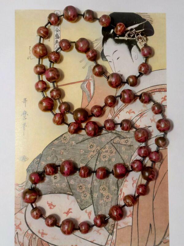 Antique Japanese Meiji Era Urushi Layered Lacquer Ojime Wood Beads Necklace