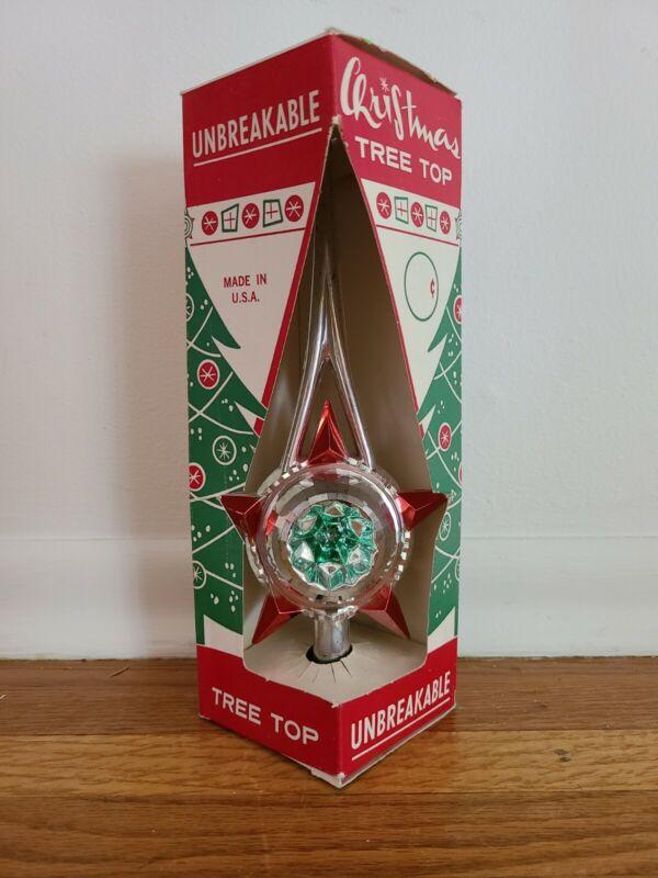 Bradford Tree Topper Unbreakable #2122 W/box Silver, Red & Green