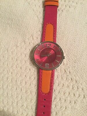 ESPRIT Vtg woman round face watch, real leather band orange pink retro untested