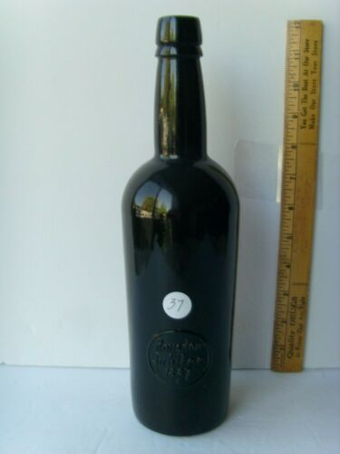 "Antq 3 piece mold w/kick-up base Black Glass Seal Jubilee Bottle11¾"" ~1887 56/37"