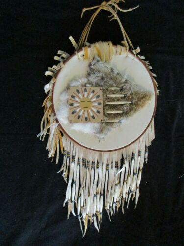 """LARGE NATIVE AMERICAN SHIELD, WITH  """"SAND PAINTING""""   SD-0621*05690"""