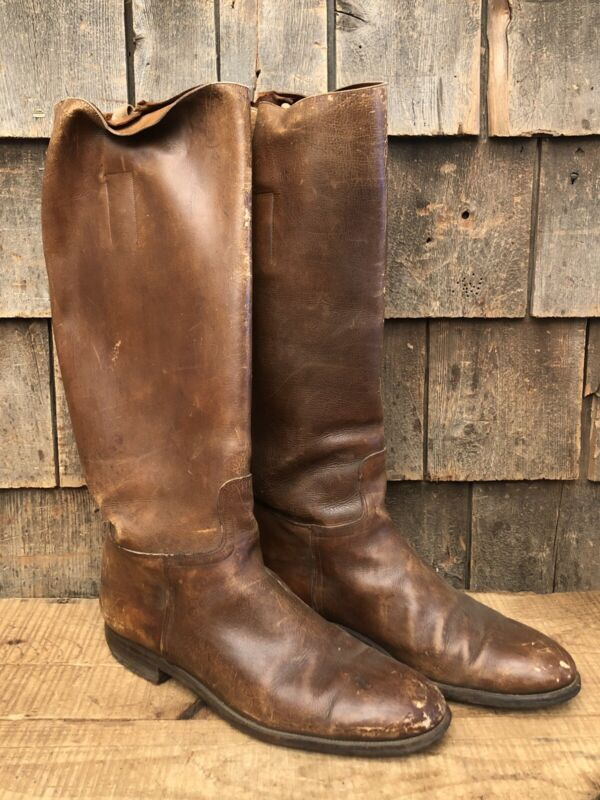 WWI British Army Officer Cavalry Knee Length Leather Boots