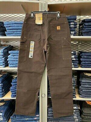 Carhartt Men's B136 Washed Duck Double-Front Knee Work Dungaree Pants Dark Brown