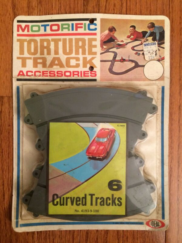 1965 Vintage Ideal (MOTORIFIC TORTURE TRACK) Accessories (6) CURVED TRACKS, NEW!