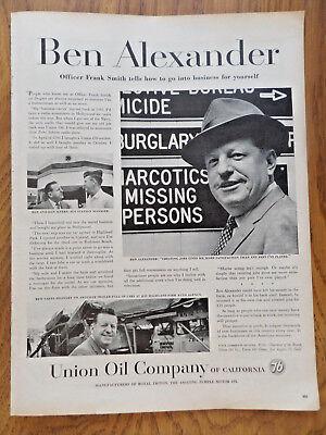 1958 Union Oil 76 of California Ad  Ben Alexander as Officer Frank Smith Dragnet