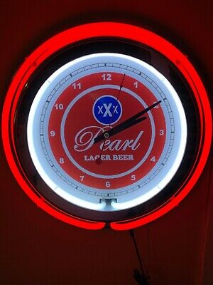 Pearl Lager Texas Beer Bar Man Cave Advertising Red Neon Clock Sign