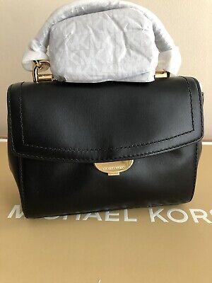 🎁BNWT** Michael Kors Extra Small Ava Bag - Black Leather Handbag Silver 🎁