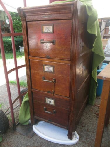 RARE OAK WATERFALL STYLE FILE CABINET
