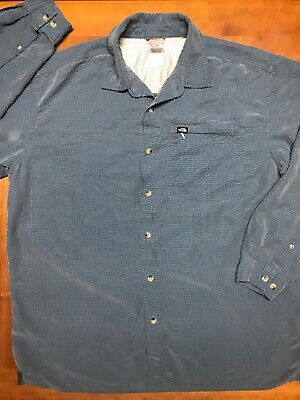 The North Face Flannel Shirt Men's XL Blue Plaid Button Up Long Sleeve AS-IS