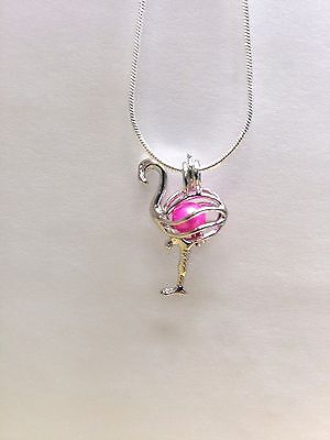 Make A Wish Necklace - Make a Wish Pearl Cage Pendant Necklace - Flamingo - 925 Chain+Pearl Included