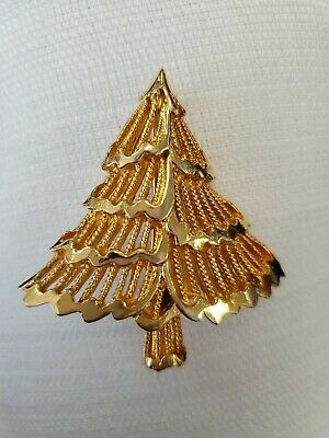 Signed COREL Christmas Tree Brooch Pin Goldtone Jewelry 2