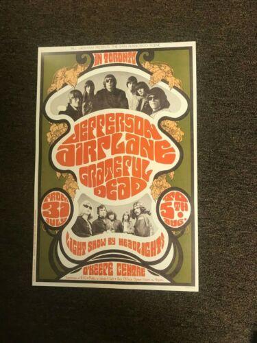 "Jefferson Airplane Grateful Dead 1967 Toronto Cardstock Concert Poster 12"" x 18"""